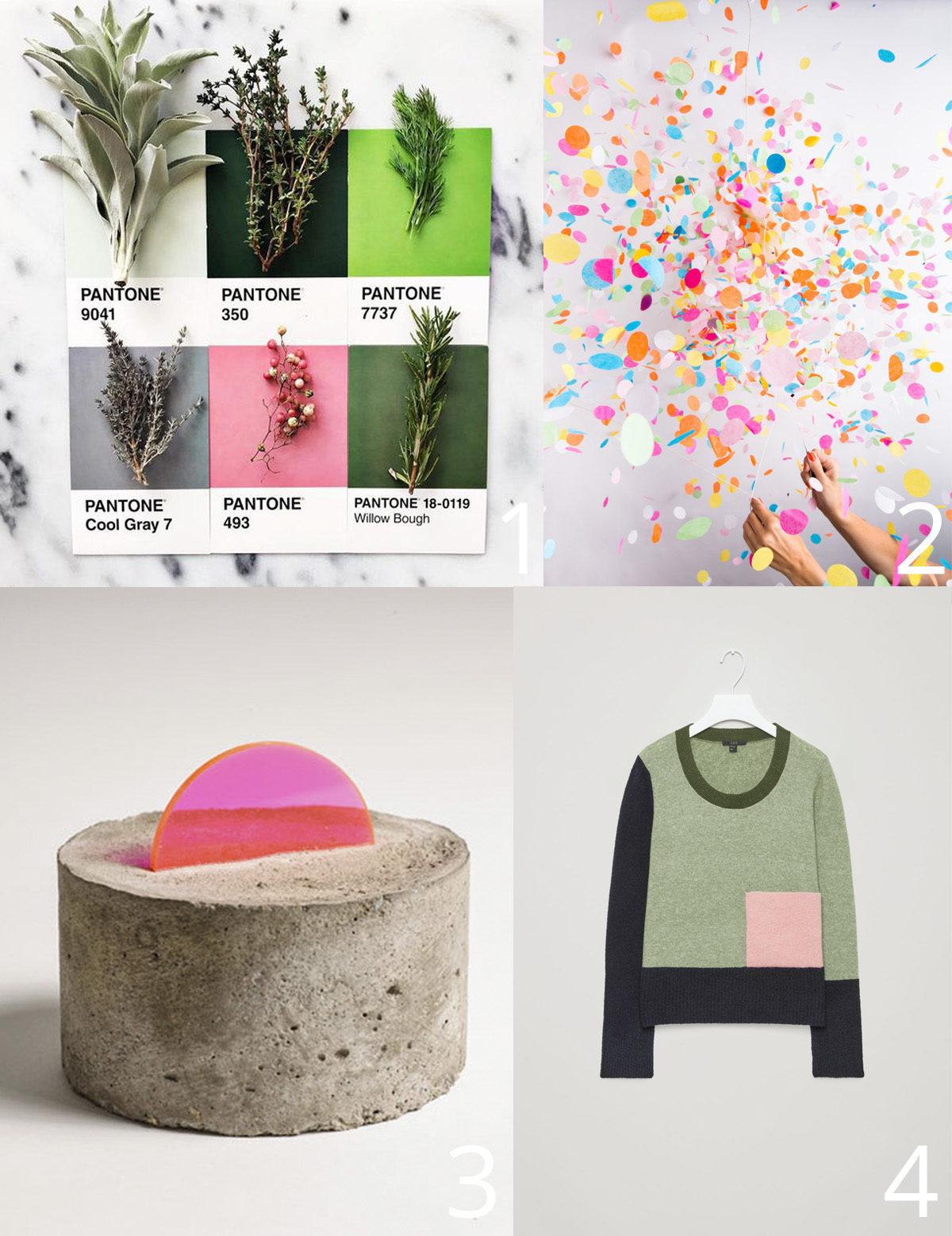 Four fun things: sweatshirt, confetti, sculpture, pantone colors