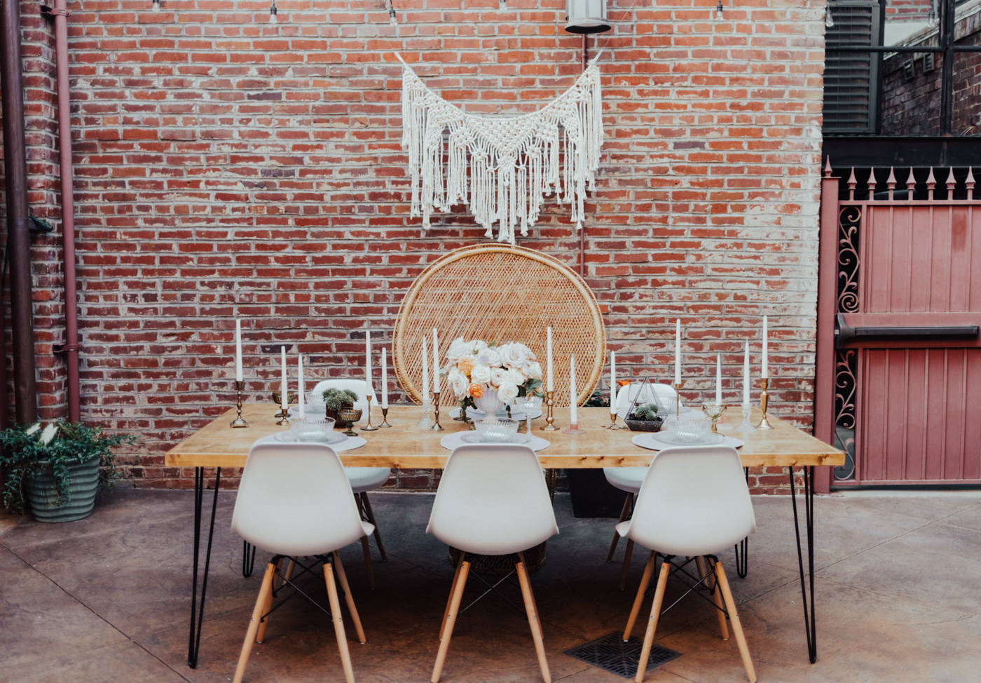 boho table with peacock chair