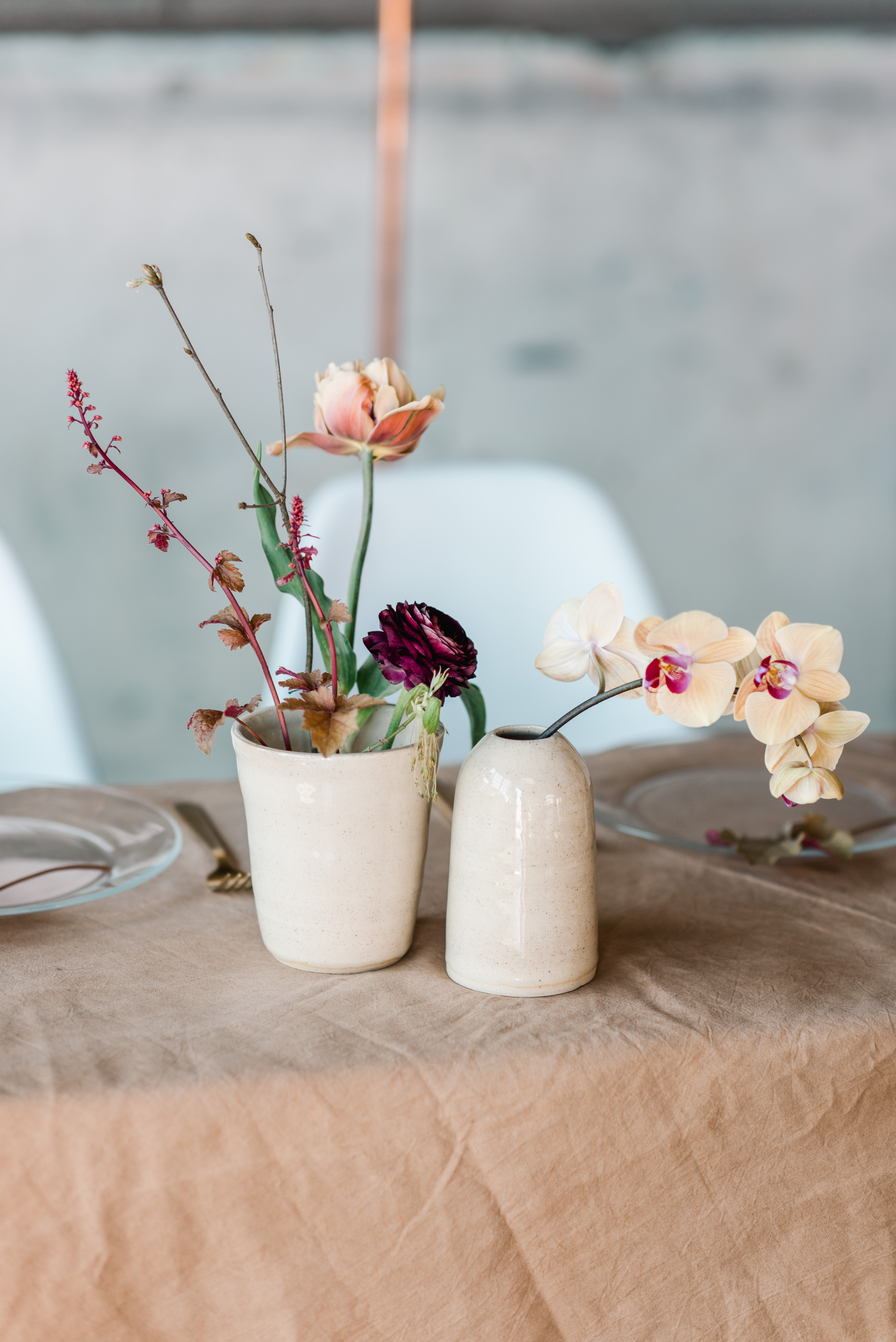 ceramic bowls with flowers at wedding