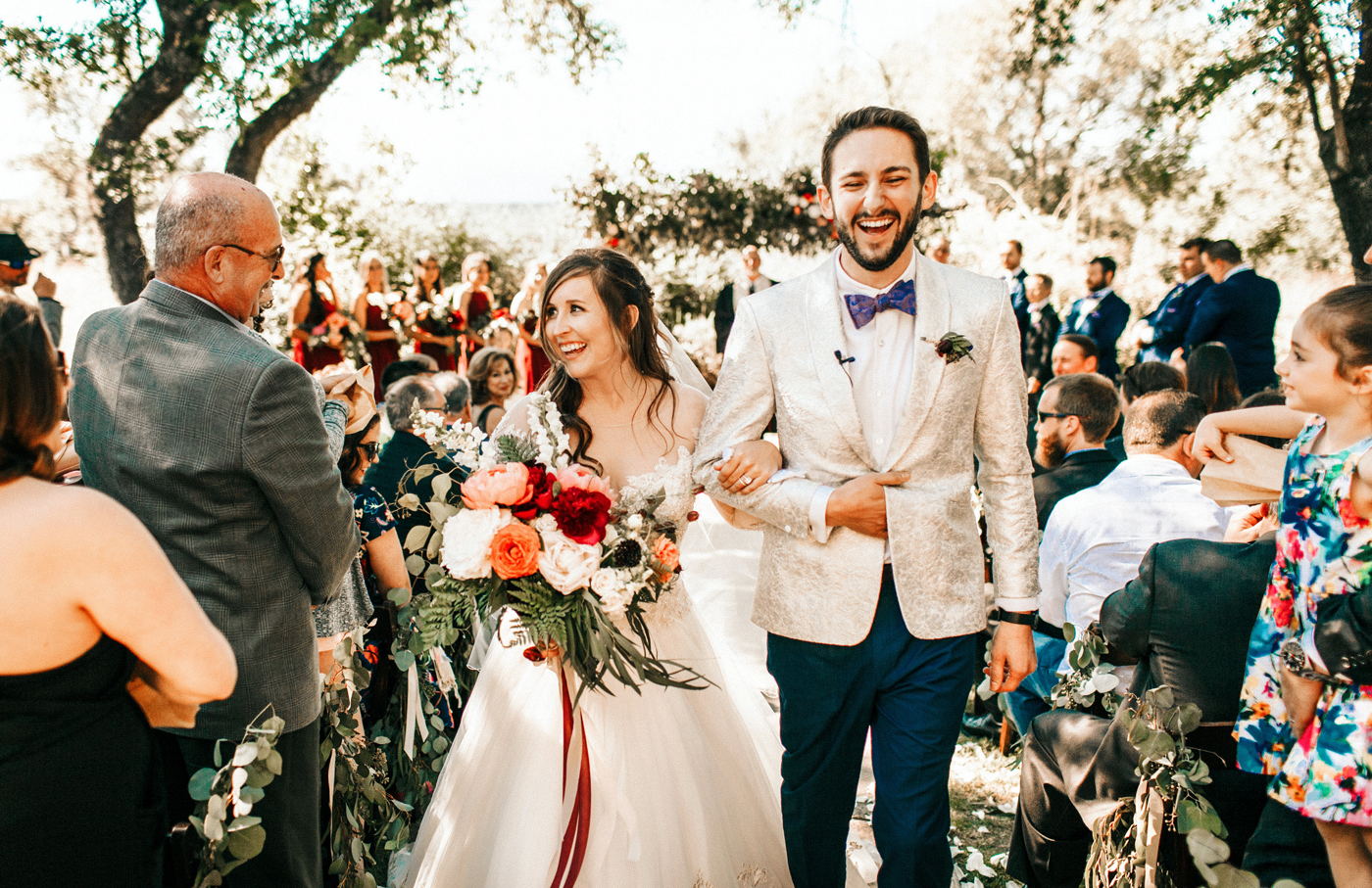 Maroon and peach wedding in Fayetteville, Arkansas