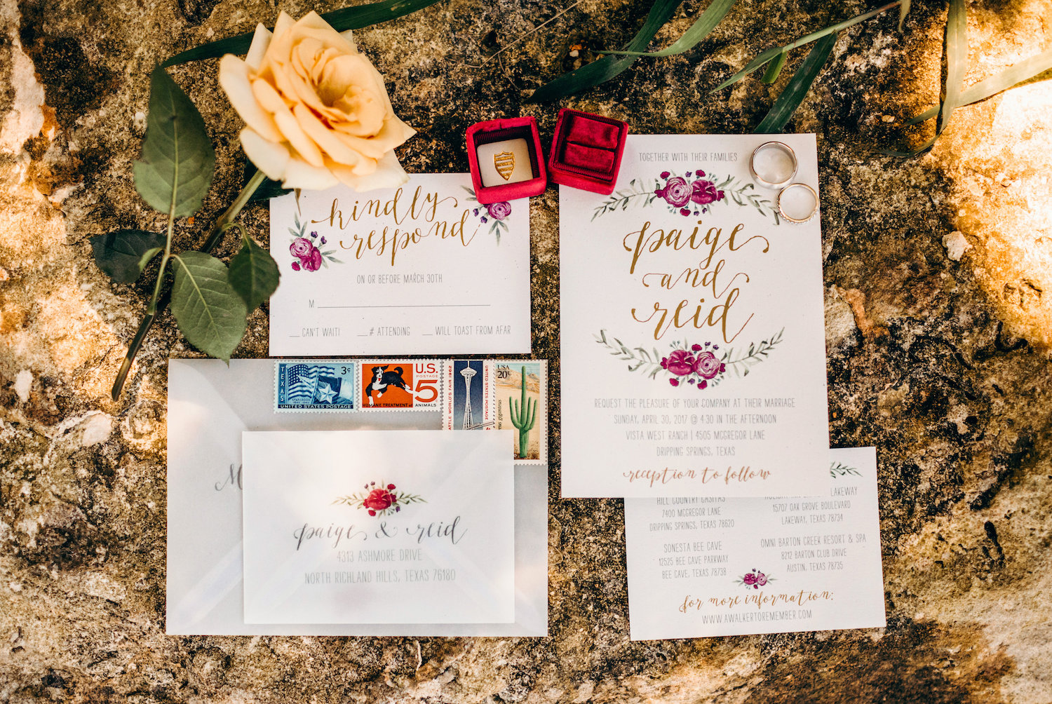 Wedding invitation with vintage stamps