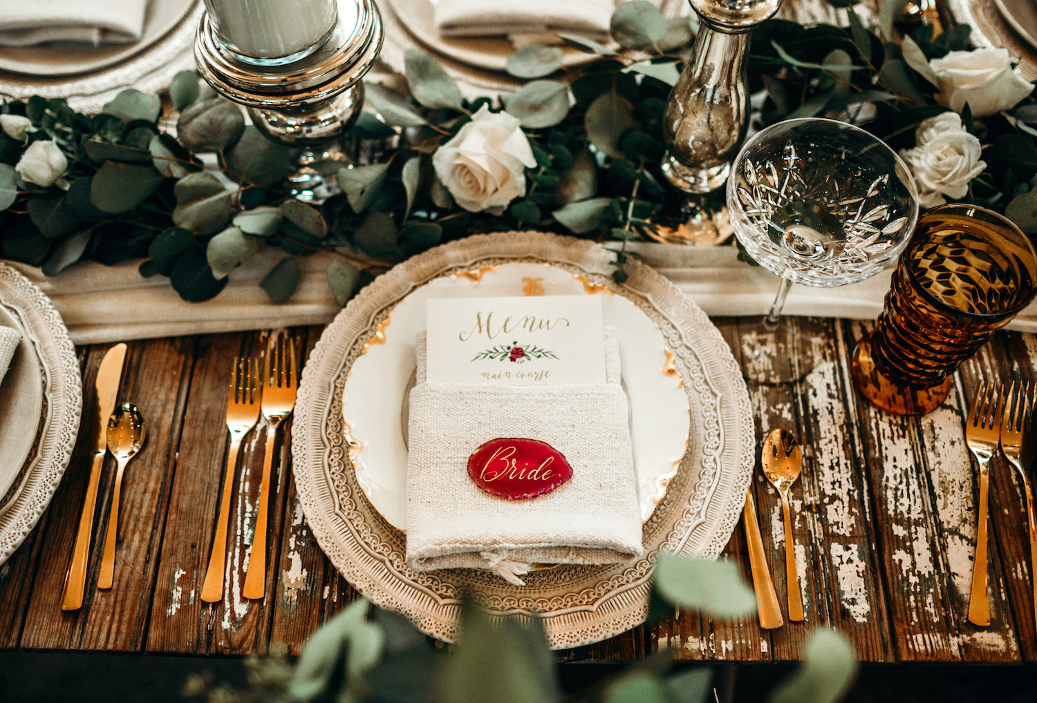 Rustic wedding place setting with agate namecard