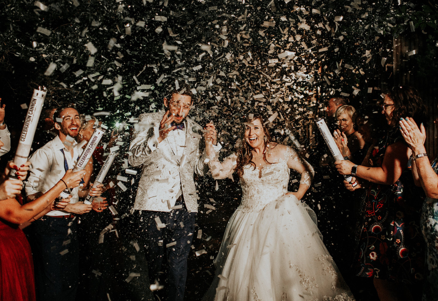Wedding exit with confetti cannons