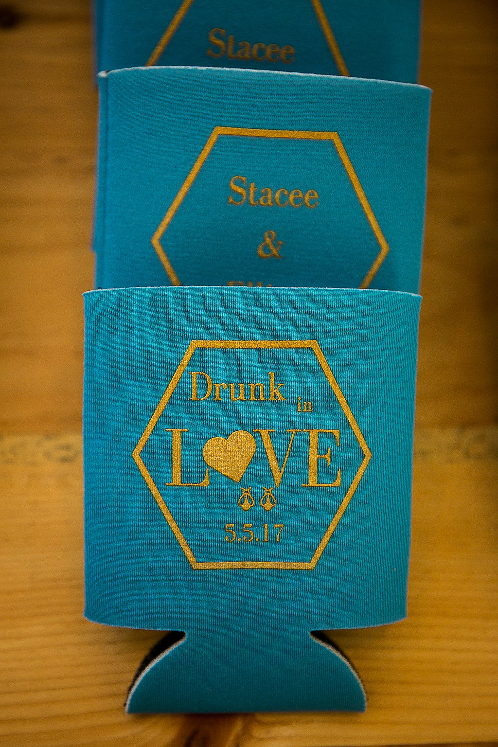 Wedding koozie with drunk in love