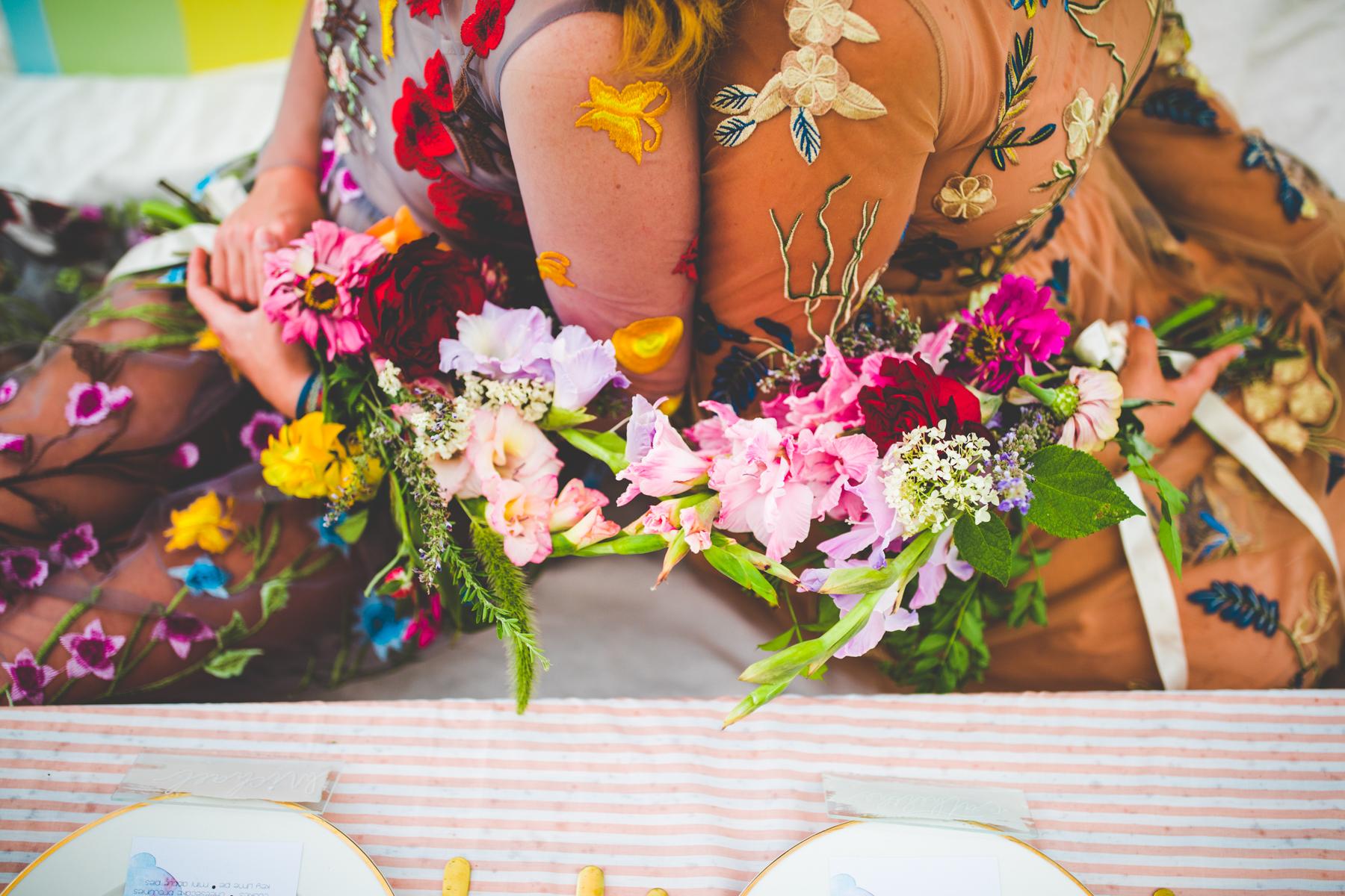 Bridesmaids wearing mismatched dresses at Southwest Missouri wedding venue
