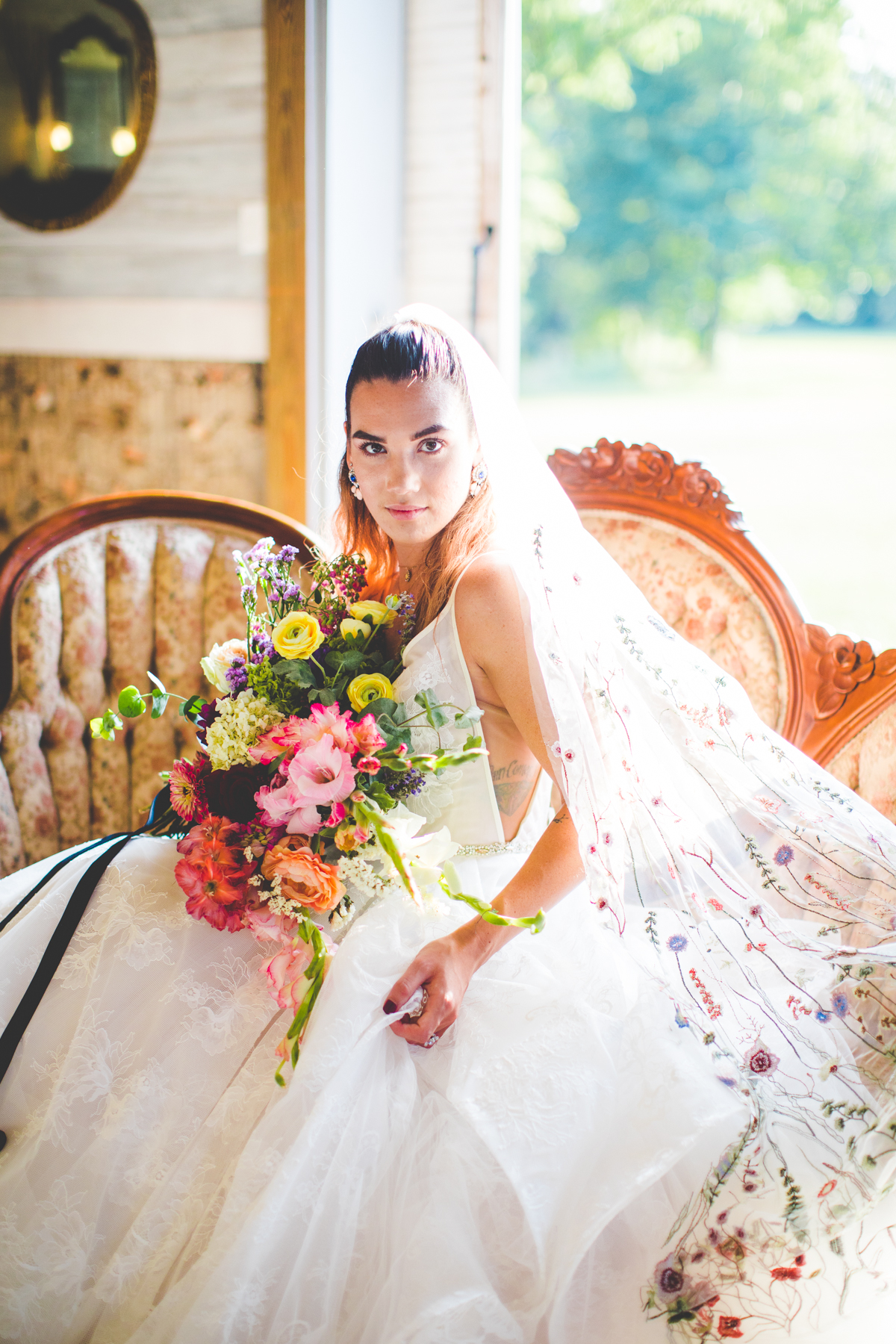 Bride from Northwest Arkansas wearing a floral veil