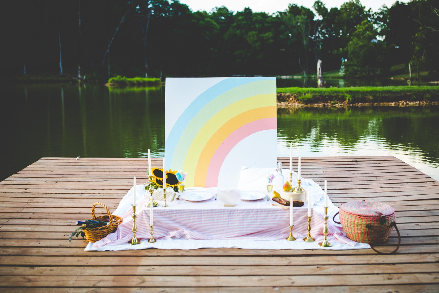 Picnic wedding setup on southwest Missouri lake