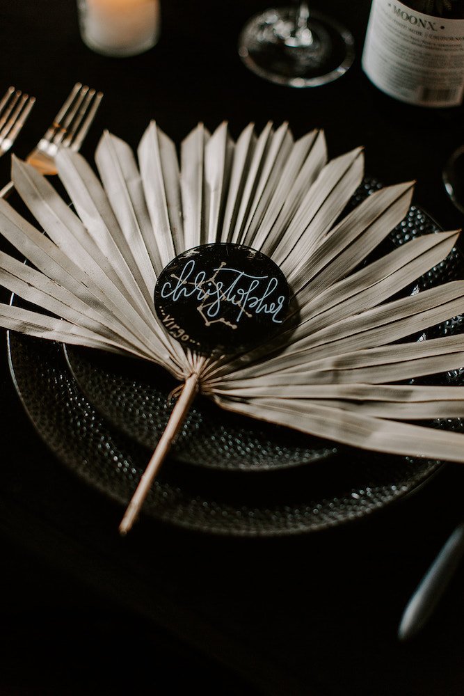Dried palm wedding details in Tulsa, Oklahoma