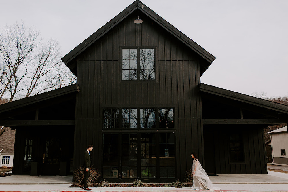 Wedding portrait in front of Black Barn in Tulsa, Oklahoma