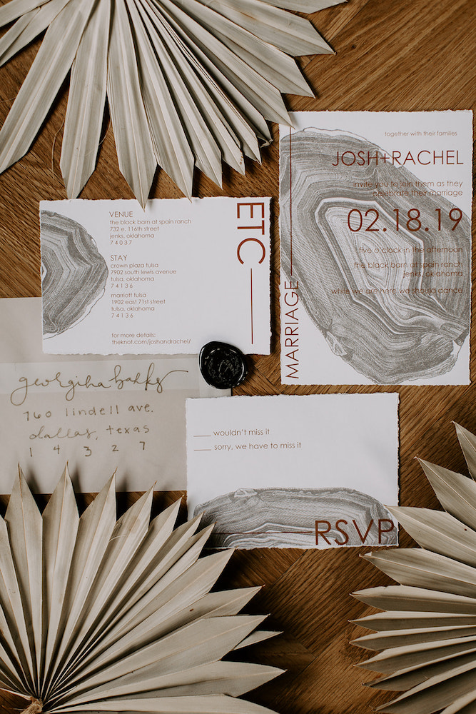Boho wedding invitations inspired by agates