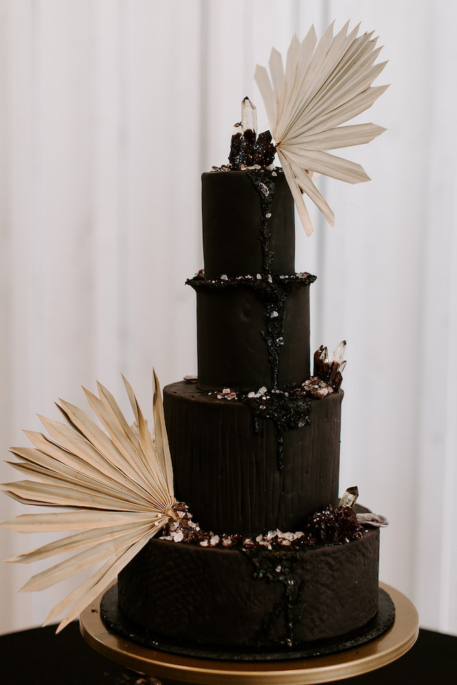 Moody black wedding cake