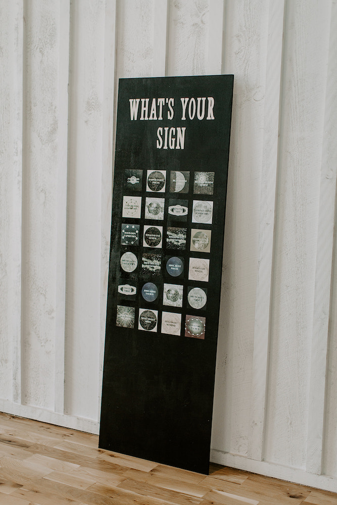 Celestial wedding seating sign