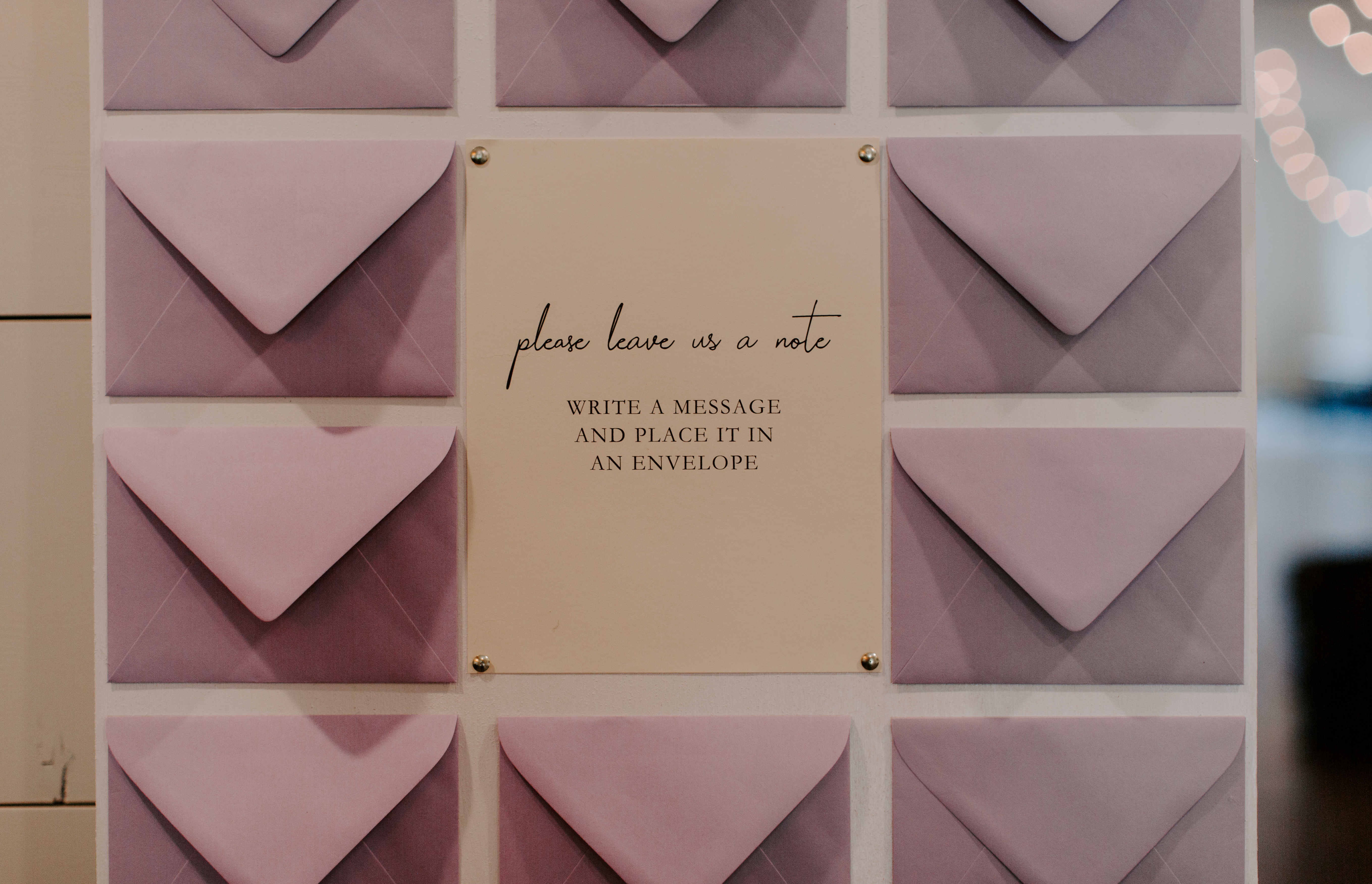 Envelope wall sign in for wedding