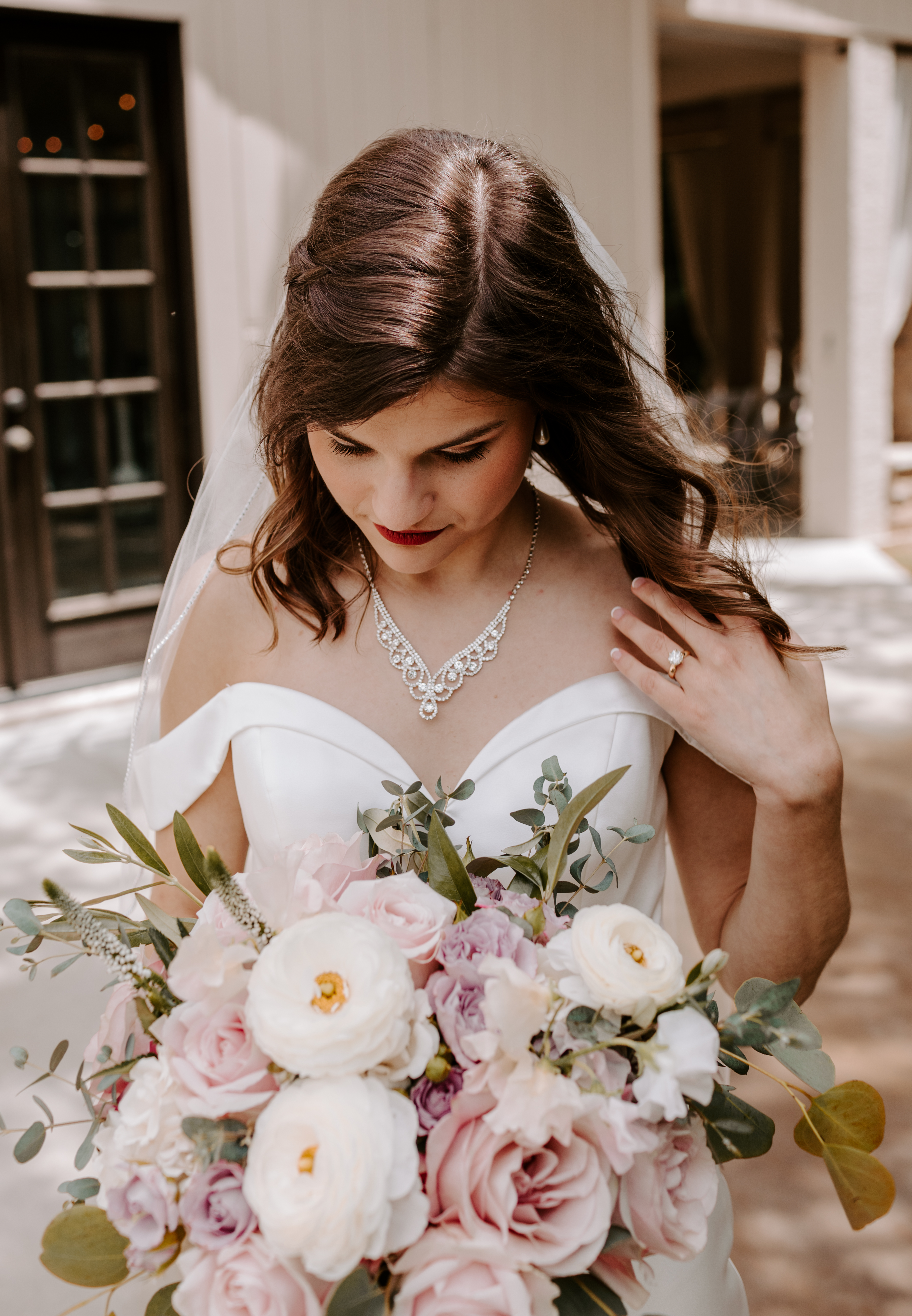 Fort Smith, Arkansas bridal photo with pink, white, and purple roses