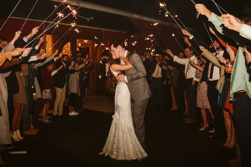 Sassafras Springs Vineyard & Winery Wedding sparkler exit