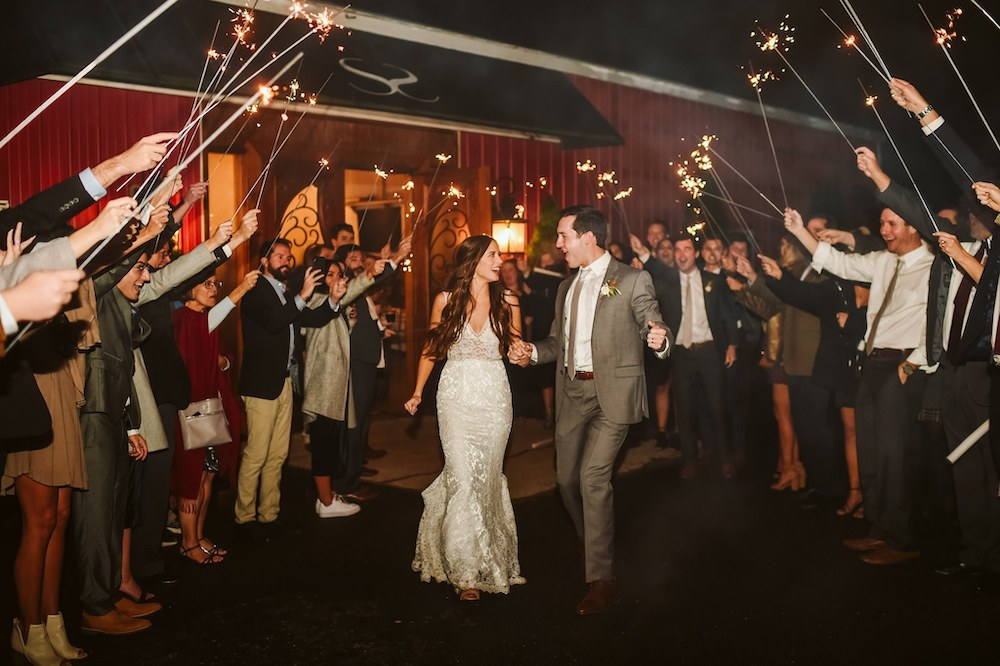 Sassafras Springs Vineyard & Winery Wedding exit sparklers