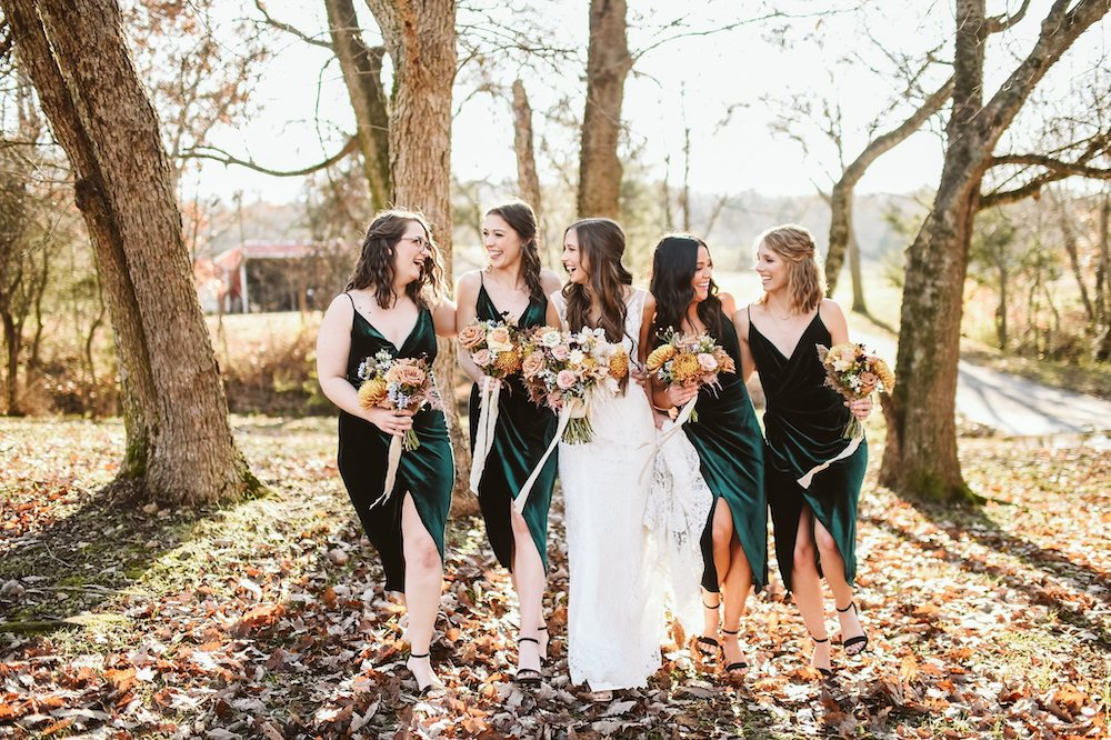 Bride and bridesmaids at Sassafras Springs Vineyard & Winery