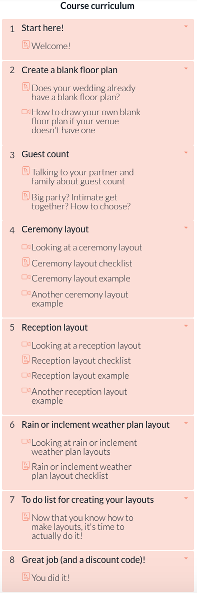 online course curriculum for wedding layout