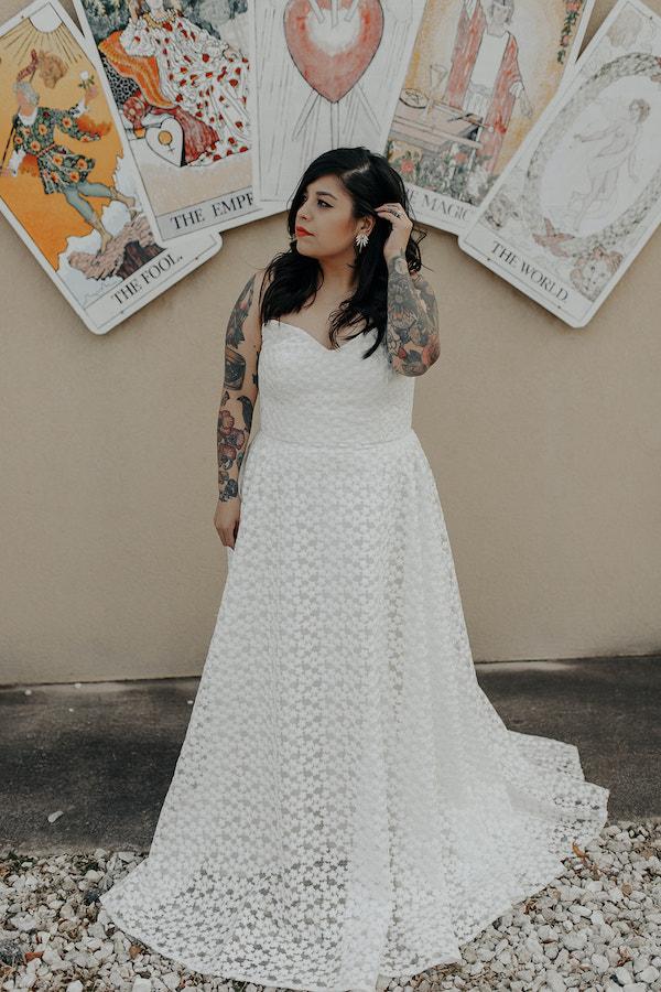 Bride in Halseene dress in Fayetteville AR