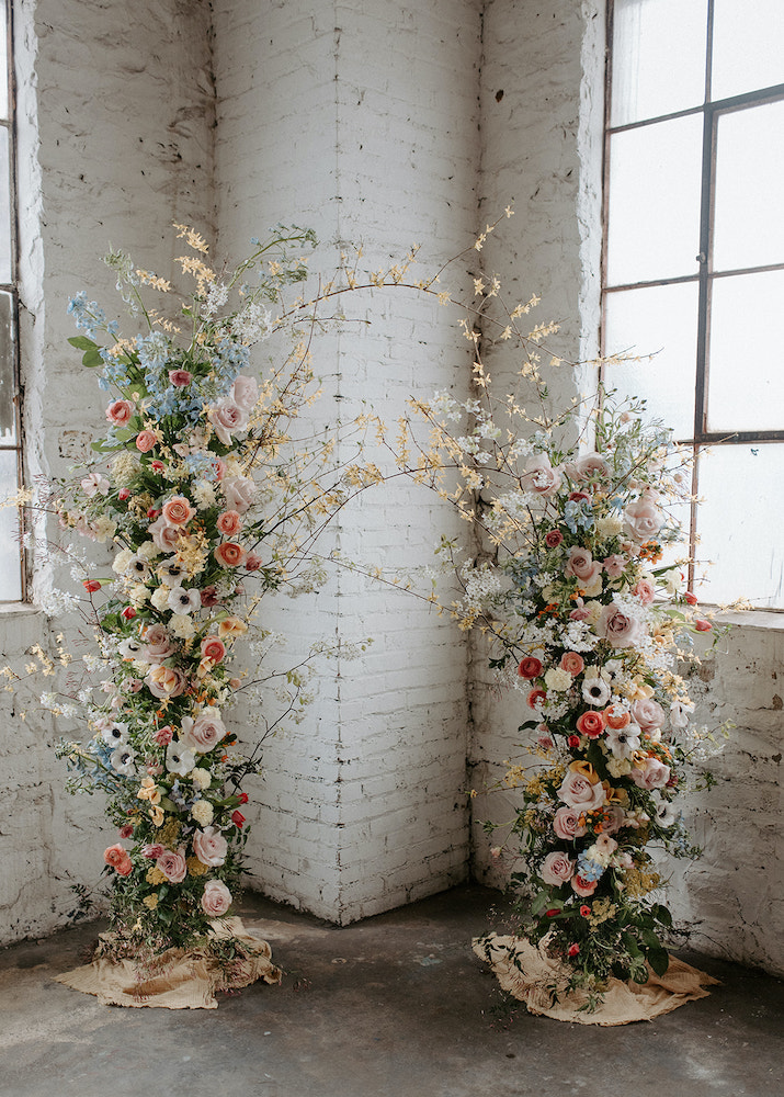 Fleurish floral backdrop for wedding in Fayetteville AR