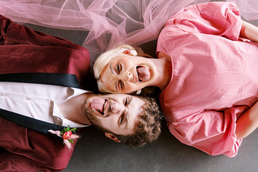pink bride and groom