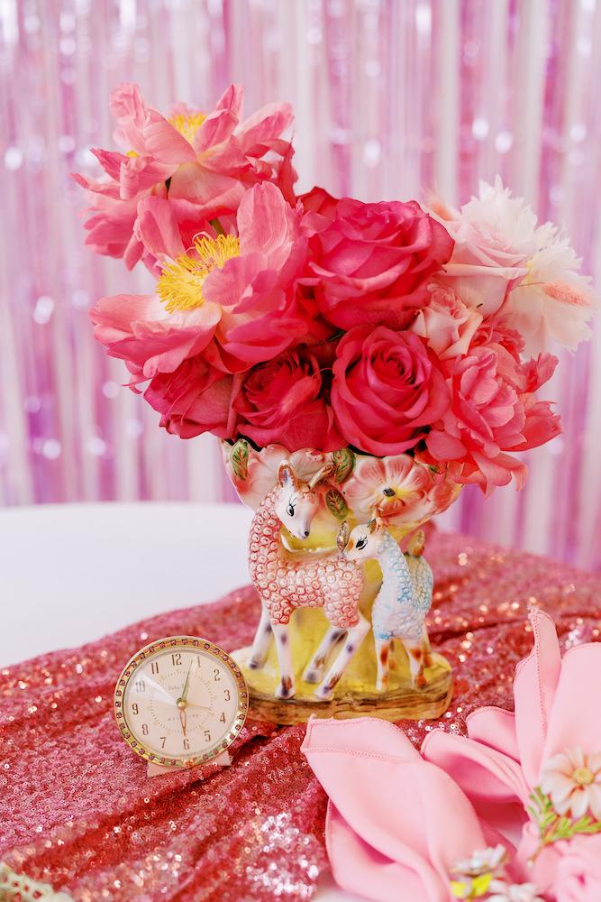 pink wedding bouquet in kitschy vase